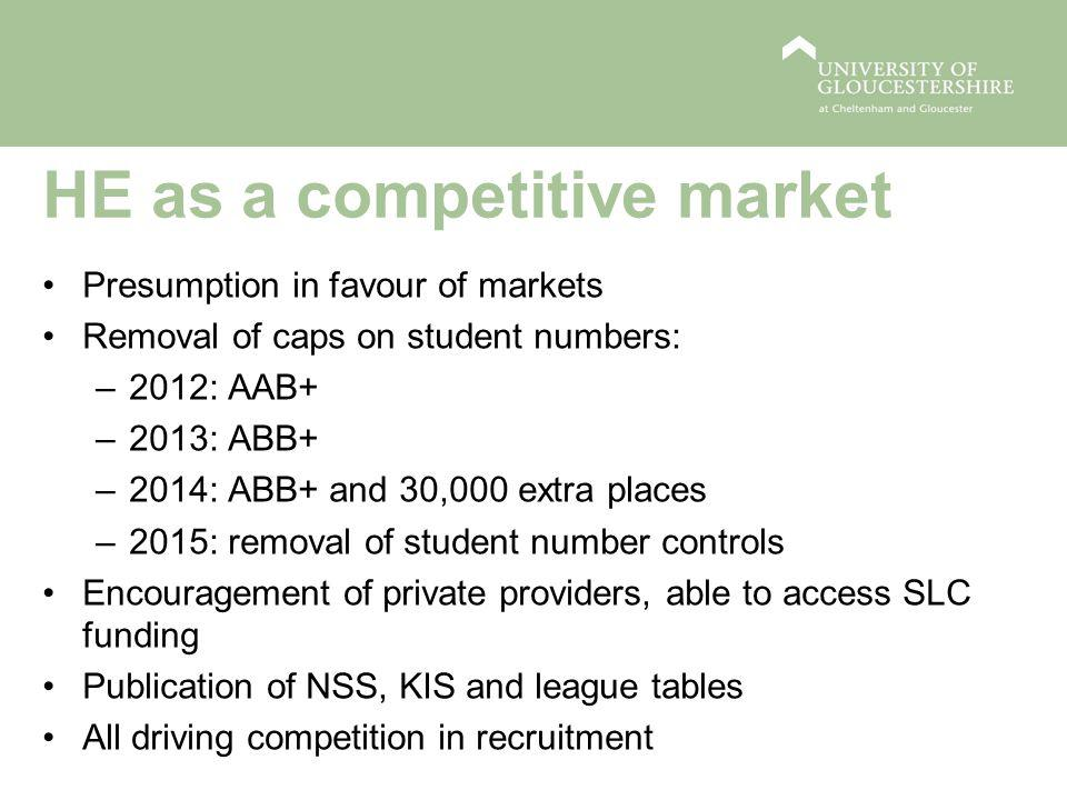 HE as a competitive market Presumption in favour of markets Removal of caps on student numbers: –2012: AAB+ –2013: ABB+ –2014: ABB+ and 30,000 extra places –2015: removal of student number controls Encouragement of private providers, able to access SLC funding Publication of NSS, KIS and league tables All driving competition in recruitment