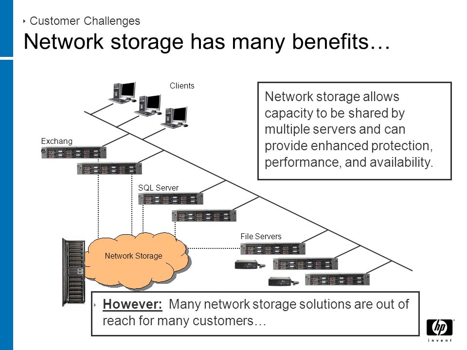 Clients  Customer Challenges Network storage has many benefits… Network storage allows capacity to be shared by multiple servers and can provide enhanced protection, performance, and availability.