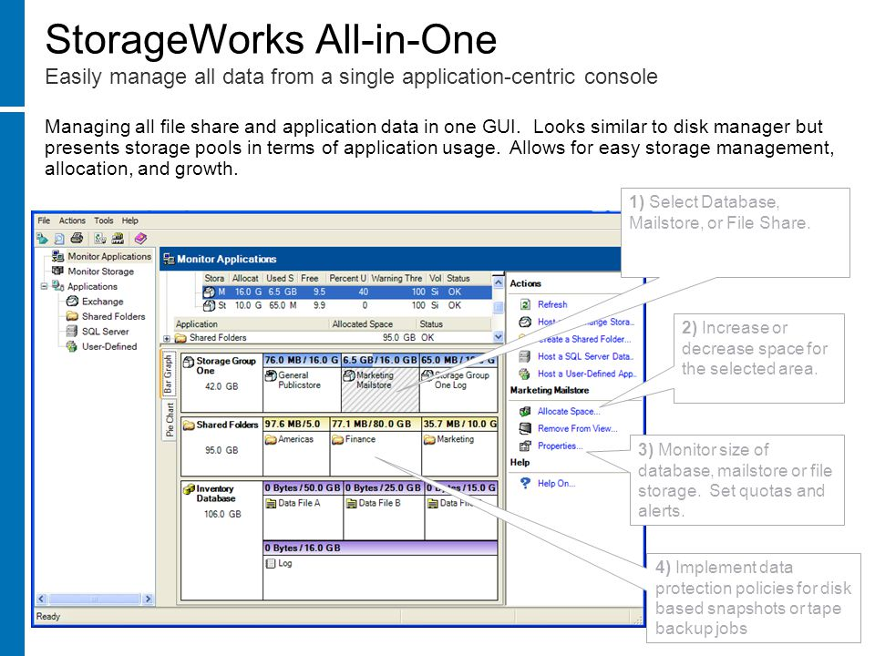Managing all file share and application data in one GUI.