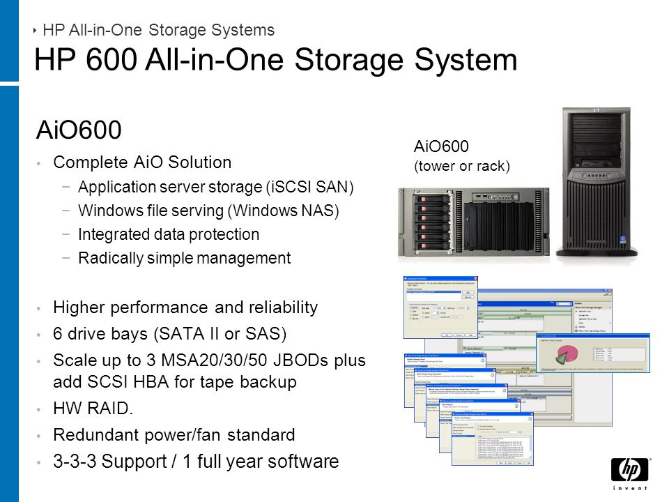 AiO600 Complete AiO Solution −Application server storage (iSCSI SAN) −Windows file serving (Windows NAS) −Integrated data protection −Radically simple management Higher performance and reliability 6 drive bays (SATA II or SAS) Scale up to 3 MSA20/30/50 JBODs plus add SCSI HBA for tape backup HW RAID.