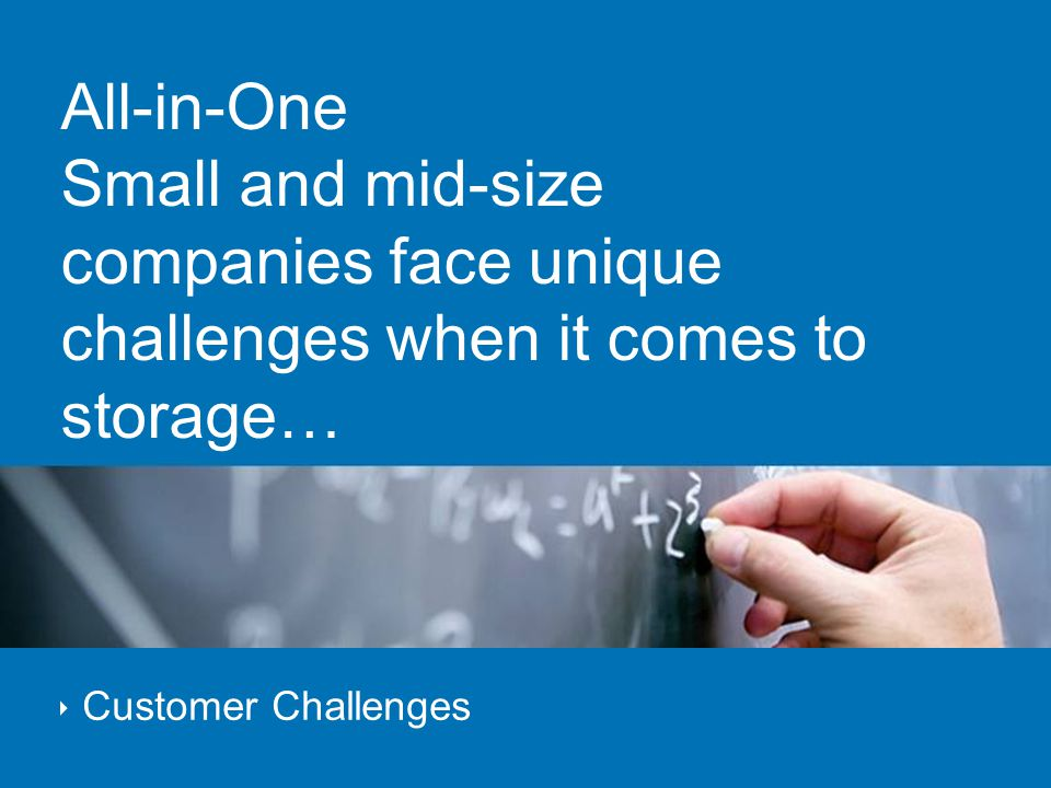 All-in-One Small and mid-size companies face unique challenges when it comes to storage…  Customer Challenges