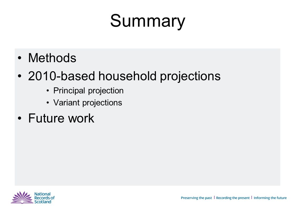 Summary Methods 2010-based household projections Principal projection Variant projections Future work
