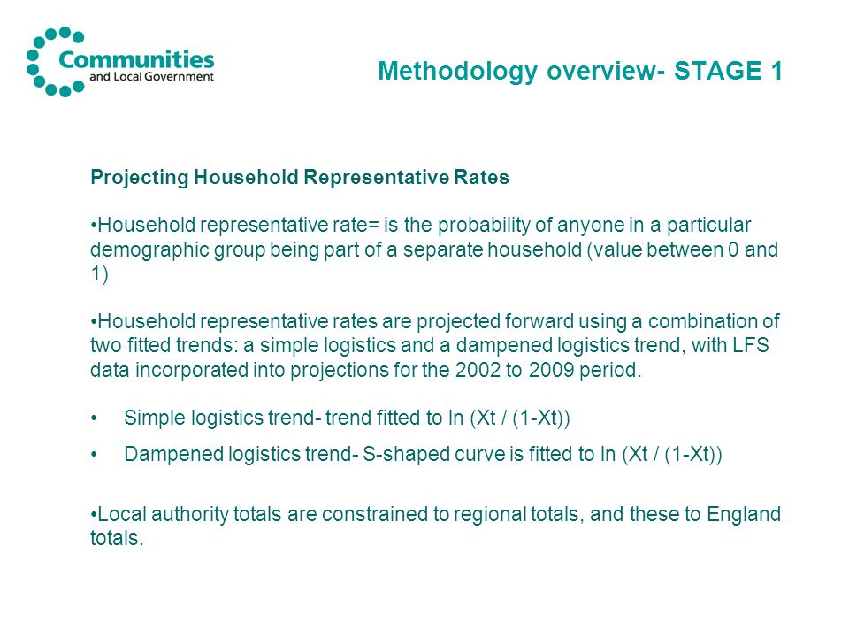 Methodology overview- STAGE 1 Projecting Household Representative Rates Household representative rate= is the probability of anyone in a particular demographic group being part of a separate household (value between 0 and 1) Household representative rates are projected forward using a combination of two fitted trends: a simple logistics and a dampened logistics trend, with LFS data incorporated into projections for the 2002 to 2009 period.