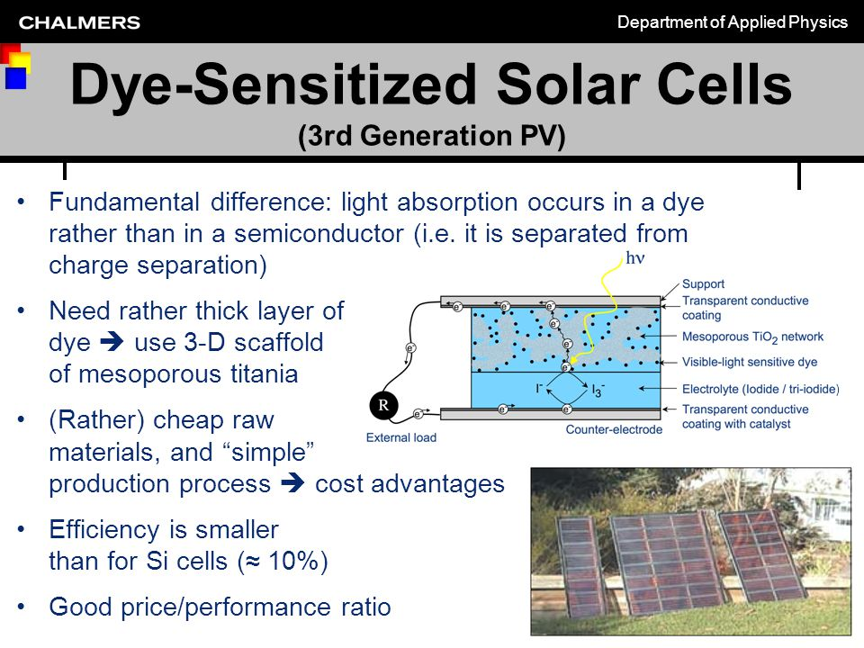 Department of Applied Physics Chalmers vägar mot en hållbar värld 2009 michael.zach@chalmers.se Dye-Sensitized Solar Cells (3rd Generation PV) Fundamental difference: light absorption occurs in a dye rather than in a semiconductor (i.e.