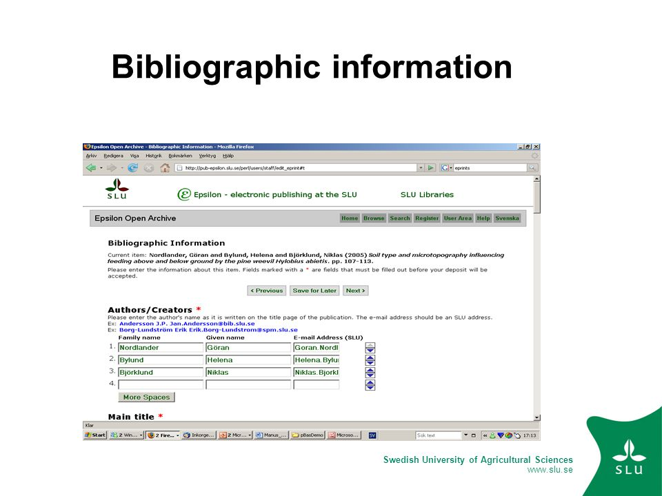 Swedish University of Agricultural Sciences www.slu.se Bibliographic information