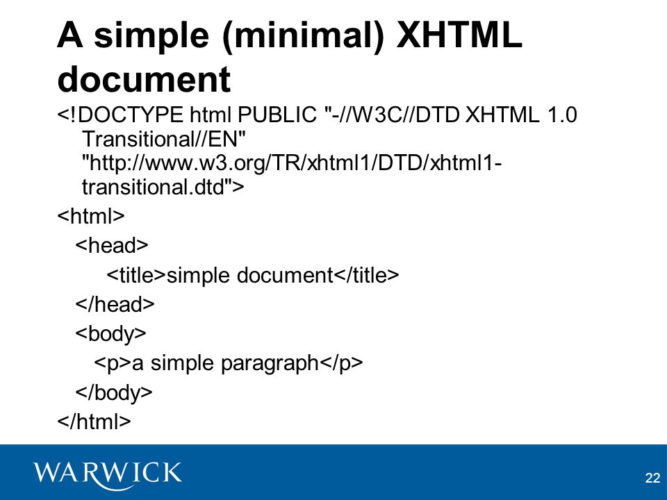 22 A simple (minimal) XHTML document simple document a simple paragraph