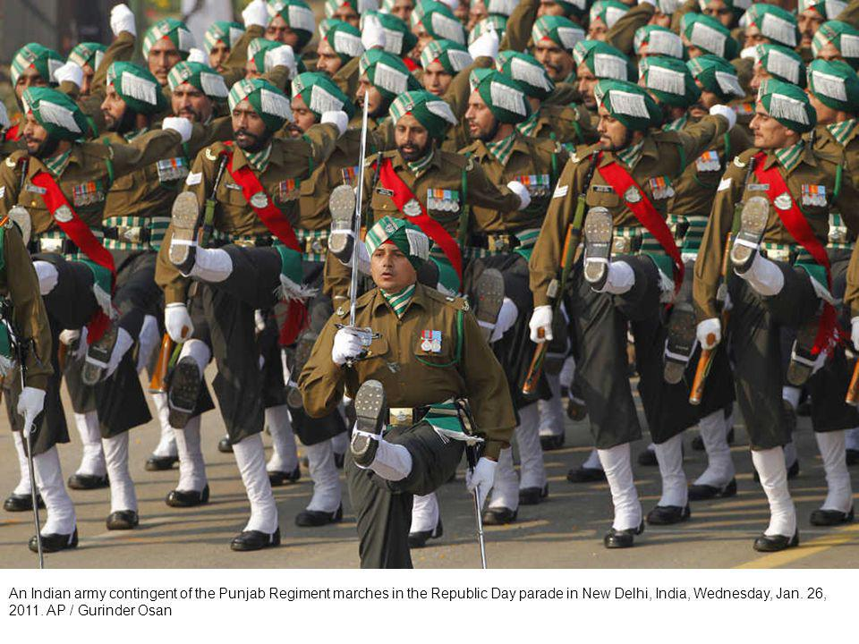 A Delhi Police contingent marches in the Republic Day parade in New Delhi, India, Wednesday, Jan.