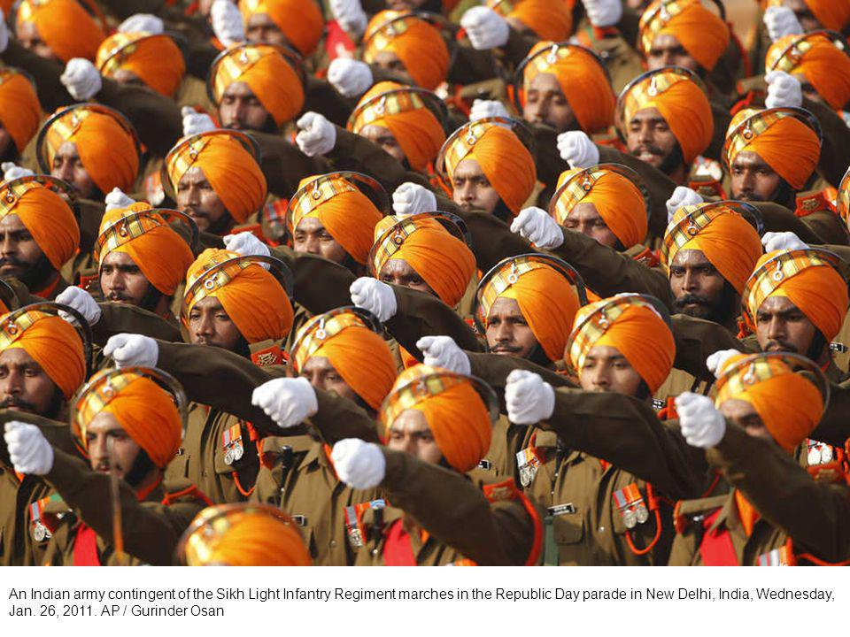 An Indian navy contingent marches in the Republic Day parade in New Delhi, India, Wednesday, Jan.