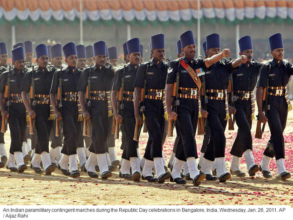 An Indian army contingent marches during the Republic Day parade in New Delhi, India, Wednesday, Jan.