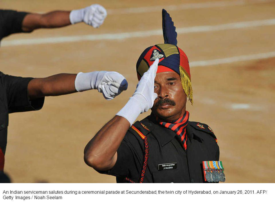 An Indian army s Assam regiment soldier commands his troop during the Republic Day parade in Calcutta, India, Wednesday, Jan.