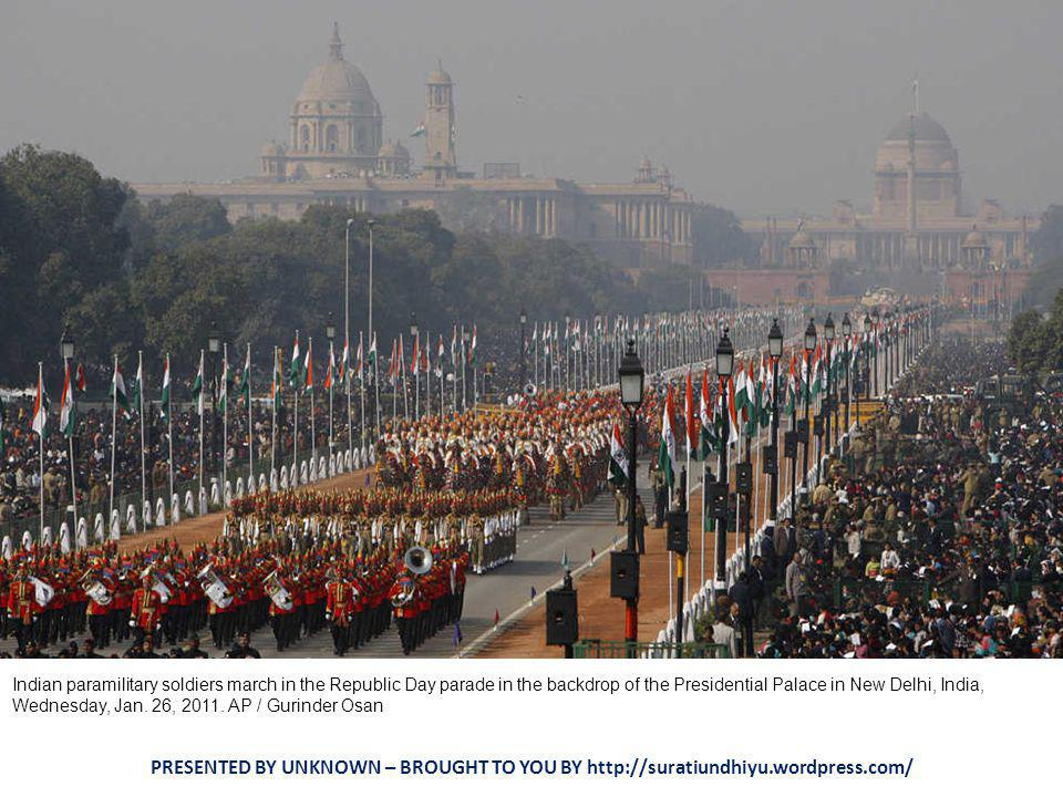 Indian police march down Rajpath during the Republic Day parade in New Delhi on January 26, 2011.