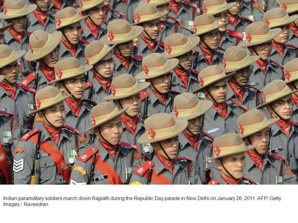 Indian paramilitary soldiers march down Rajpath during the Republic Day parade in New Delhi on January 26, 2011.