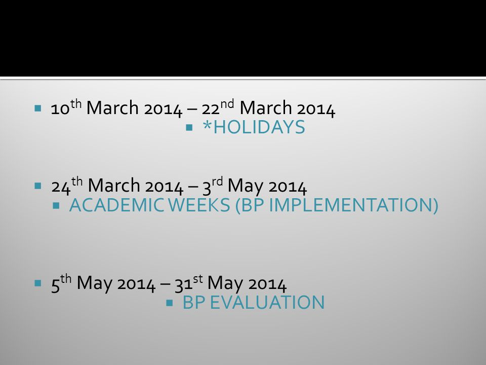  10 th March 2014 – 22 nd March 2014  *HOLIDAYS  24 th March 2014 – 3 rd May 2014  ACADEMIC WEEKS (BP IMPLEMENTATION)  5 th May 2014 – 31 st May 2014  BP EVALUATION