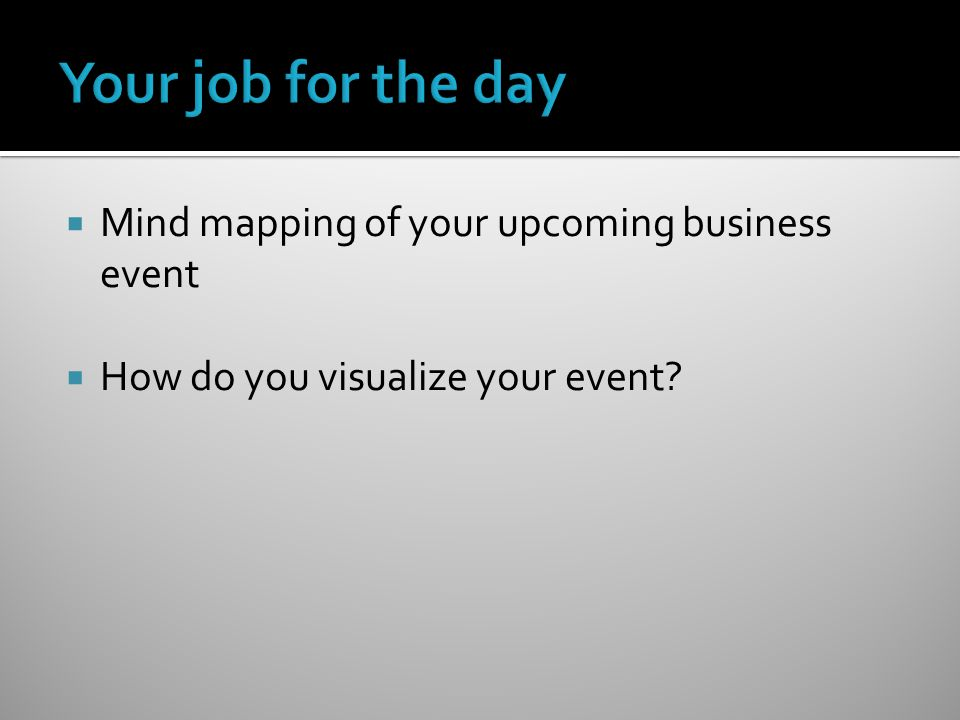  Mind mapping of your upcoming business event  How do you visualize your event