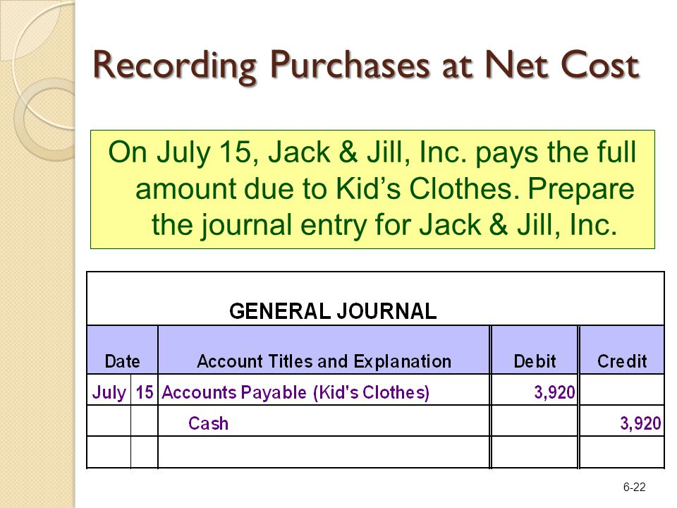 6-22 On July 15, Jack & Jill, Inc. pays the full amount due to Kid's Clothes.