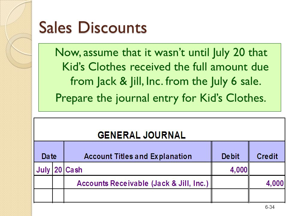 6-34 Now, assume that it wasn't until July 20 that Kid's Clothes received the full amount due from Jack & Jill, Inc.