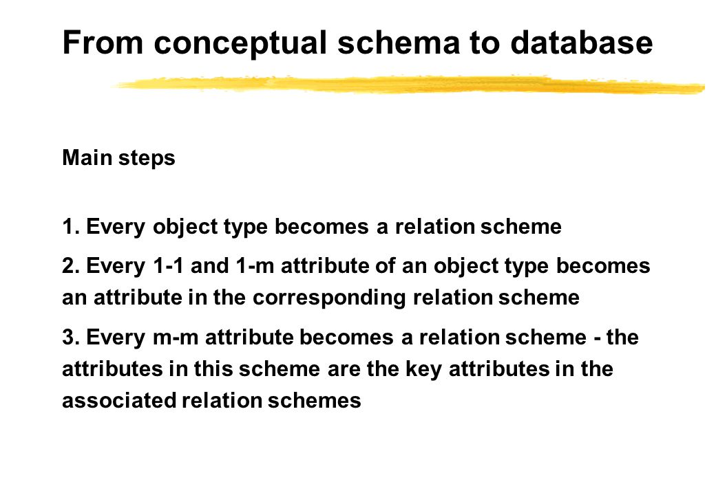 From conceptual schema to database Main steps 1. Every object type becomes a relation scheme 2.