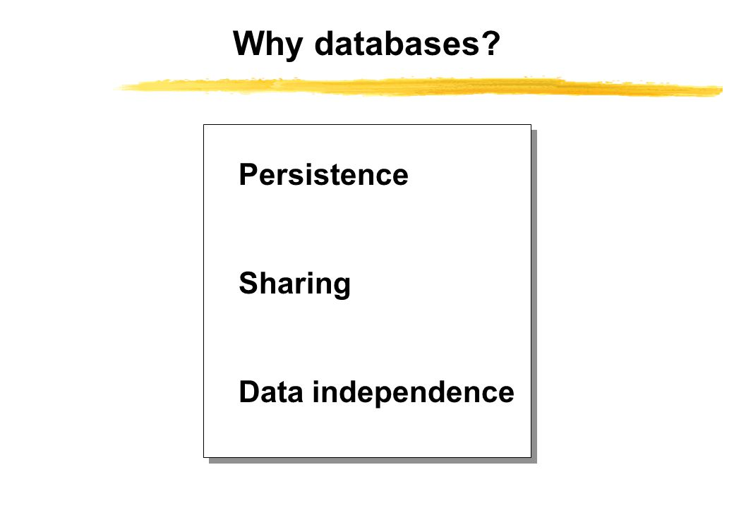 Why databases Persistence Sharing Data independence