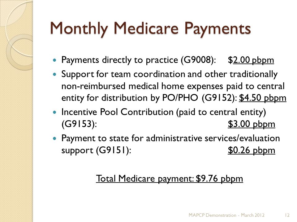 Monthly Medicare Payments Payments directly to practice (G9008) : $2.00 pbpm Support for team coordination and other traditionally non-reimbursed medical home expenses paid to central entity for distribution by PO/PHO (G9152): $4.50 pbpm Incentive Pool Contribution (paid to central entity) (G9153): $3.00 pbpm Payment to state for administrative services/evaluation support (G9151):$0.26 pbpm Total Medicare payment: $9.76 pbpm MAPCP Demonstration - March