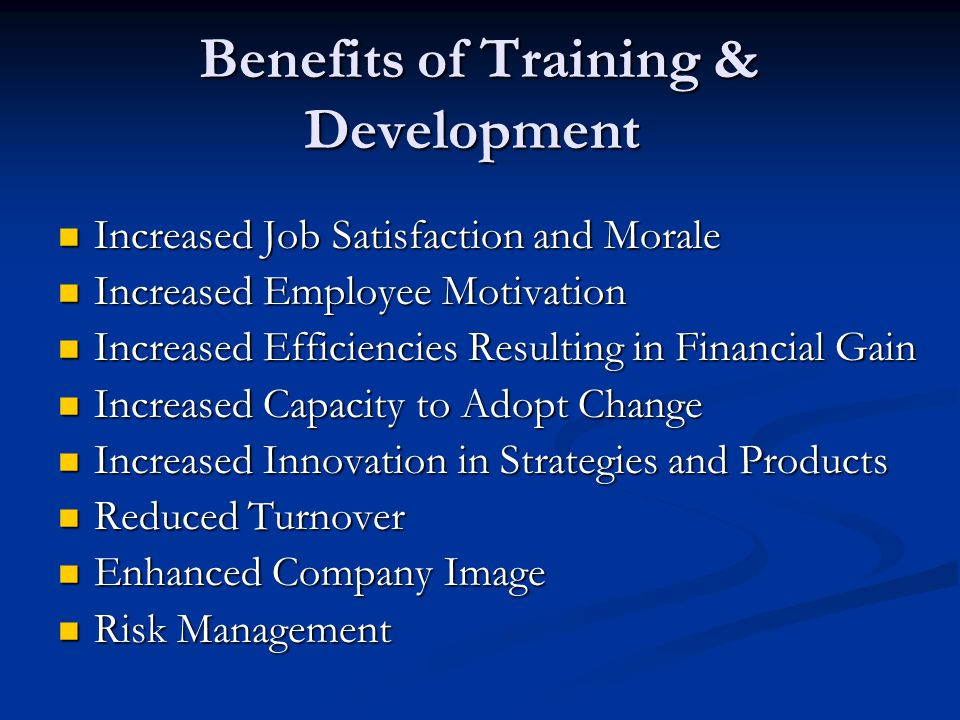 Benefits of Training & Development Benefits of Training & Development Increased Job Satisfaction and Morale Increased Job Satisfaction and Morale Increased Employee Motivation Increased Employee Motivation Increased Efficiencies Resulting in Financial Gain Increased Efficiencies Resulting in Financial Gain Increased Capacity to Adopt Change Increased Capacity to Adopt Change Increased Innovation in Strategies and Products Increased Innovation in Strategies and Products Reduced Turnover Reduced Turnover Enhanced Company Image Enhanced Company Image Risk Management Risk Management