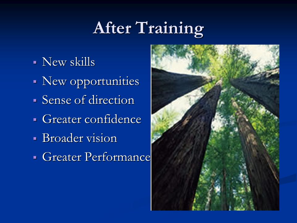 After Training  New skills  New opportunities  Sense of direction  Greater confidence  Broader vision  Greater Performance