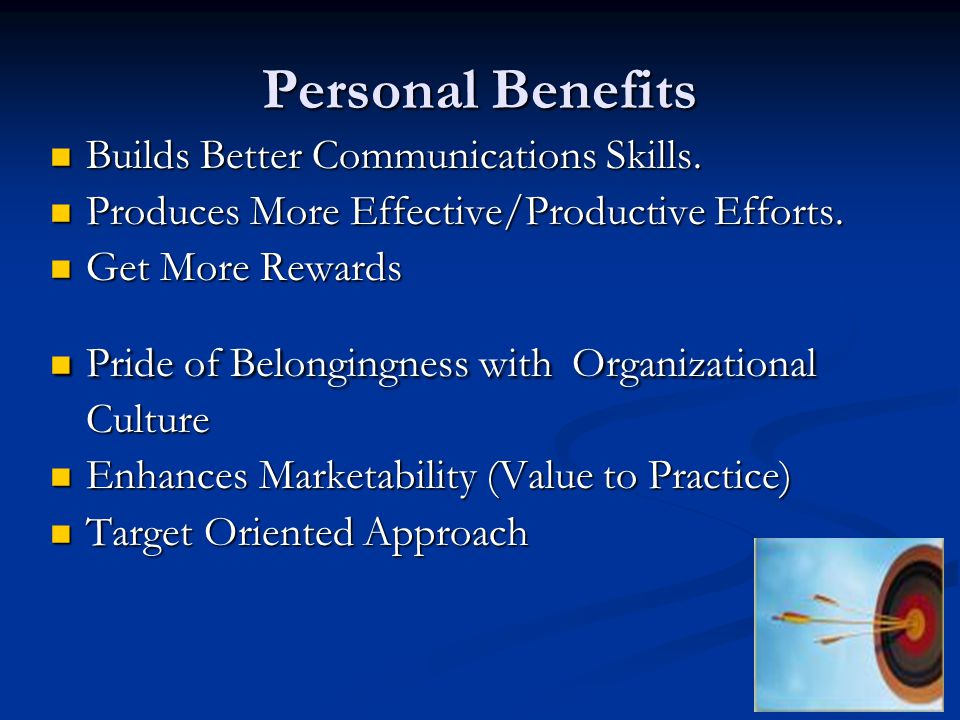 Personal Benefits Builds Better Communications Skills.