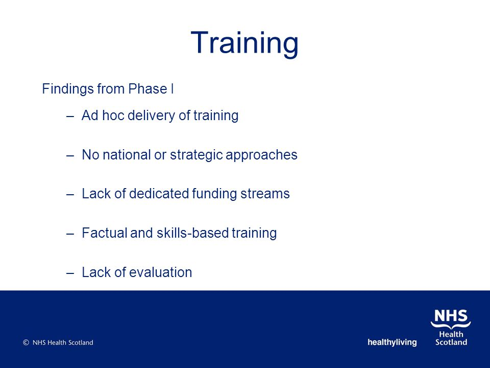 Findings from Phase I –Ad hoc delivery of training –No national or strategic approaches –Lack of dedicated funding streams –Factual and skills-based training –Lack of evaluation Training