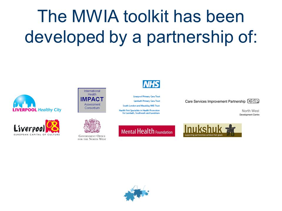 The MWIA toolkit has been developed by a partnership of: