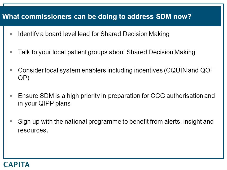 What commissioners can be doing to address SDM now.