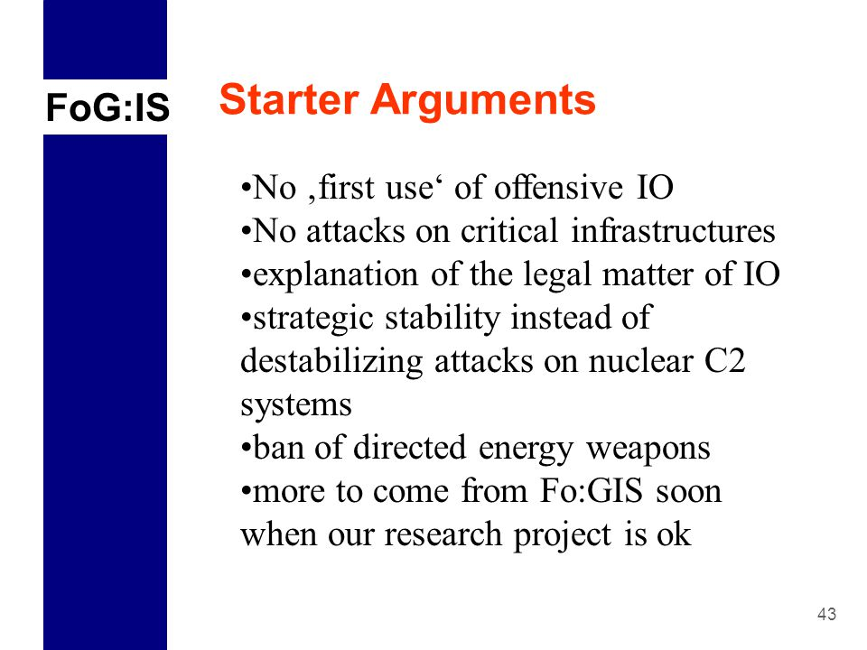 FoG:IS 1 Why Arms Control matters  Perspectives for Cyber-Arms
