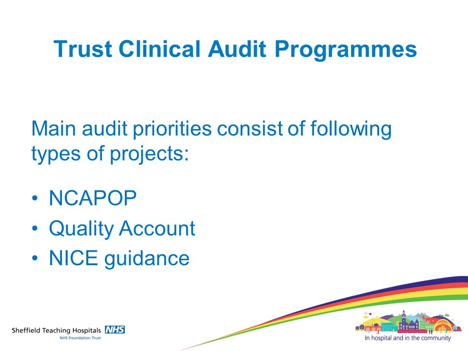 Trust Clinical Audit Programmes Main audit priorities consist of following types of projects: NCAPOP Quality Account NICE guidance