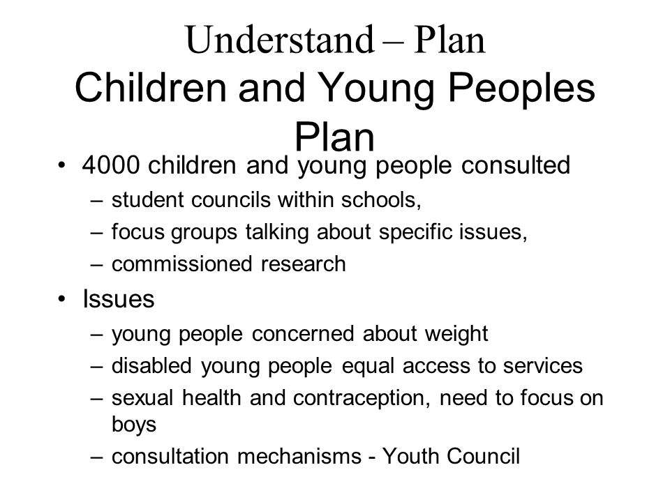Understand – Plan Children and Young Peoples Plan 4000 children and young people consulted –student councils within schools, –focus groups talking about specific issues, –commissioned research Issues –young people concerned about weight –disabled young people equal access to services –sexual health and contraception, need to focus on boys –consultation mechanisms - Youth Council