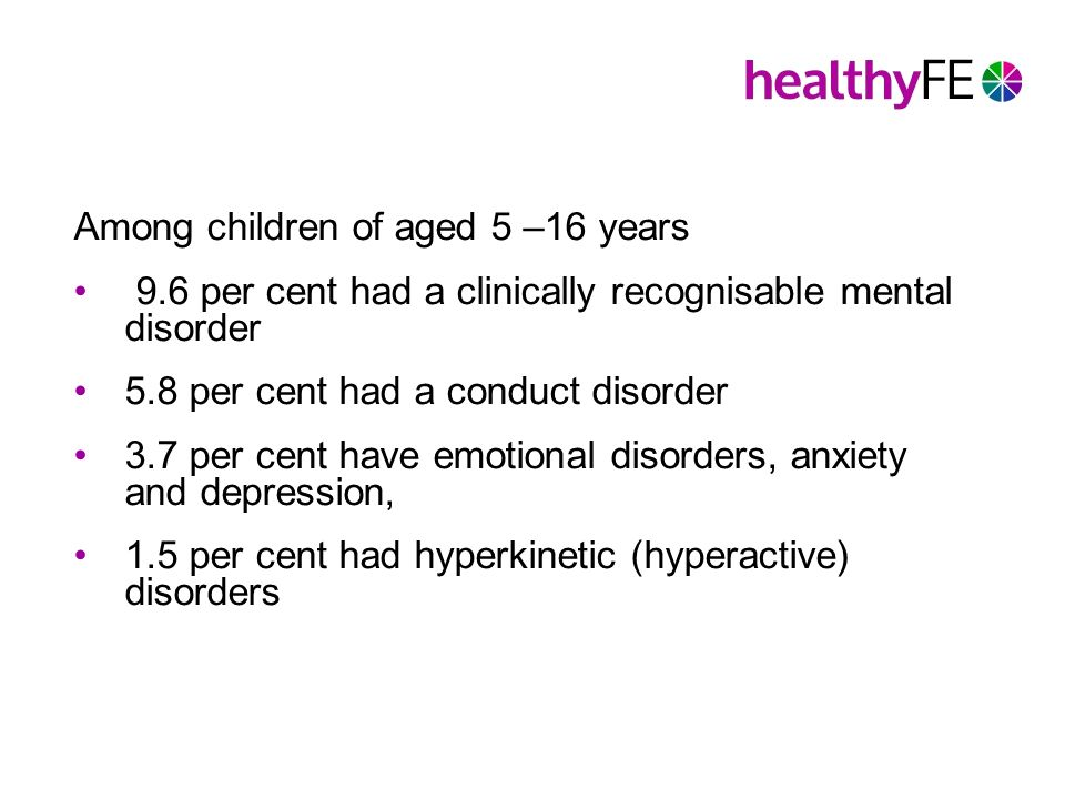 Among children of aged 5 –16 years 9.6 per cent had a clinically recognisable mental disorder 5.8 per cent had a conduct disorder 3.7 per cent have emotional disorders, anxiety and depression, 1.5 per cent had hyperkinetic (hyperactive) disorders