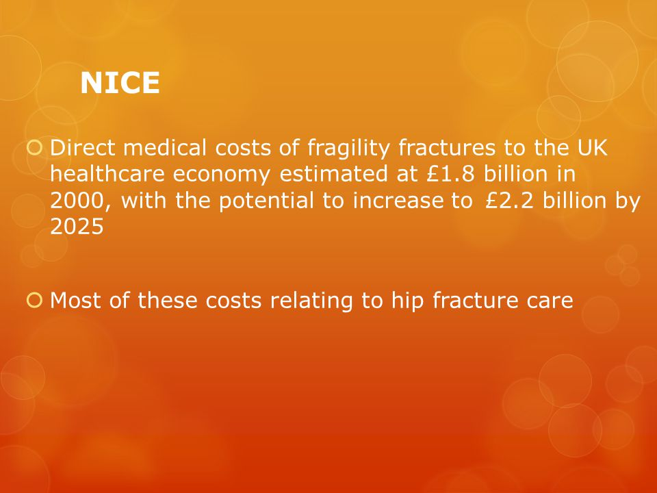 NICE  Direct medical costs of fragility fractures to the UK healthcare economy estimated at £1.8 billion in 2000, with the potential to increase to £2.2 billion by 2025  Most of these costs relating to hip fracture care