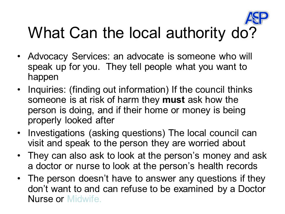 What Can the local authority do.