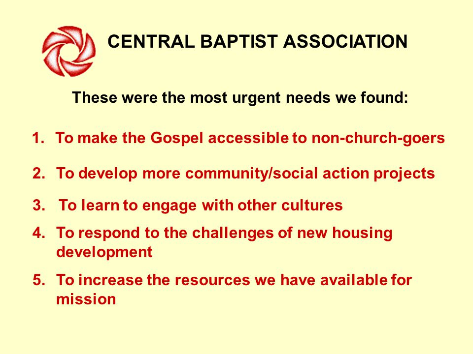 CENTRAL BAPTIST ASSOCIATION These were the most urgent needs we found: 1.To make the Gospel accessible to non-church-goers 2.To develop more community/social action projects 3.