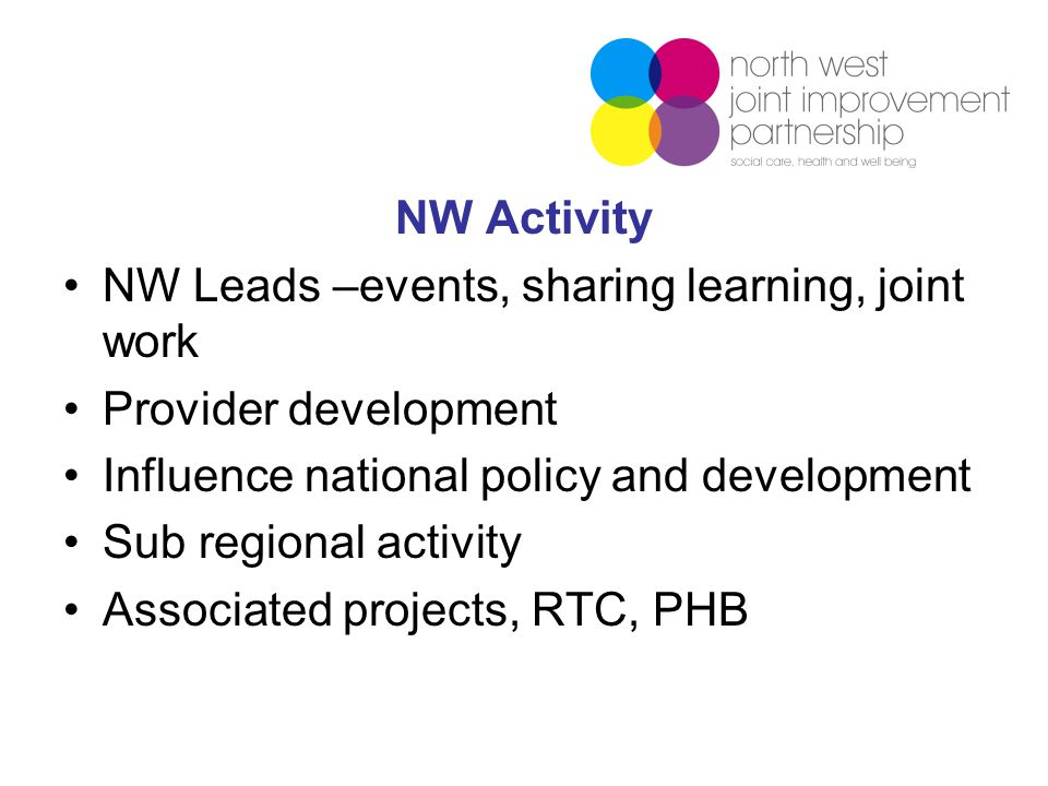 NW Activity NW Leads –events, sharing learning, joint work Provider development Influence national policy and development Sub regional activity Associated projects, RTC, PHB