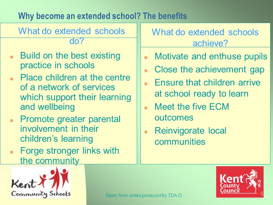6 Why become an extended school. The benefits What do extended schools do.