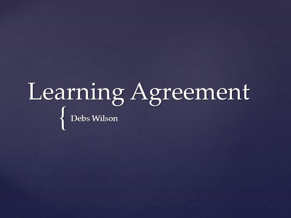 { Learning Agreement Debs Wilson