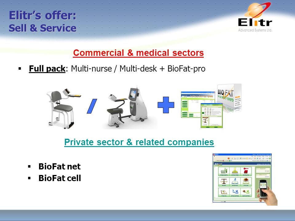 Elitr's offer: Sell & Service  Full pack: Multi-nurse / Multi-desk + BioFat-pro Commercial & medical sectors Private sector & related companies  BioFat net  BioFat cell