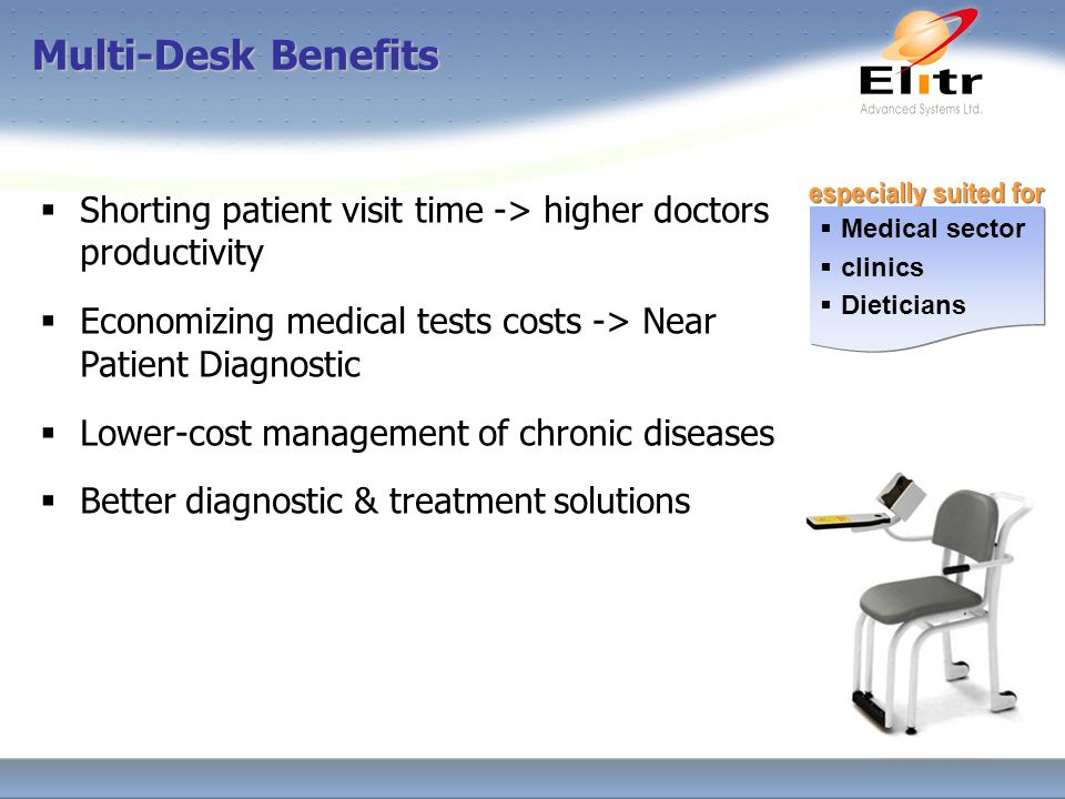  Medical sector  clinics  Dieticians  Medical sector  clinics  Dieticians  Shorting patient visit time -> higher doctors productivity  Economizing medical tests costs -> Near Patient Diagnostic  Lower-cost management of chronic diseases  Better diagnostic & treatment solutions Multi-Desk Benefits