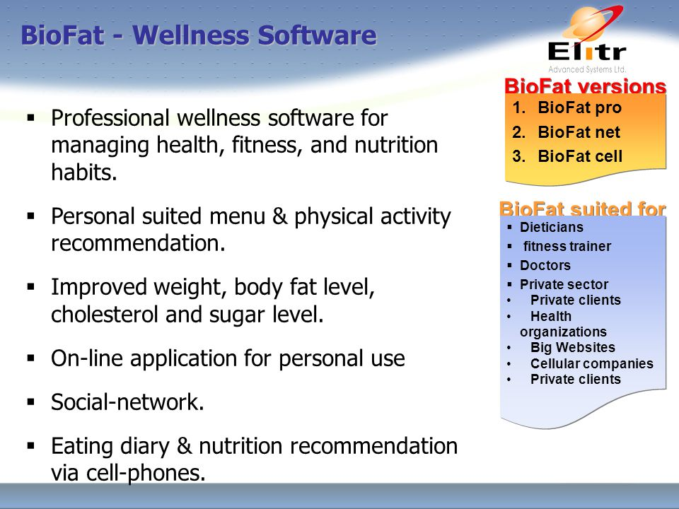 BioFat - Wellness Software  Professional wellness software for managing health, fitness, and nutrition habits.