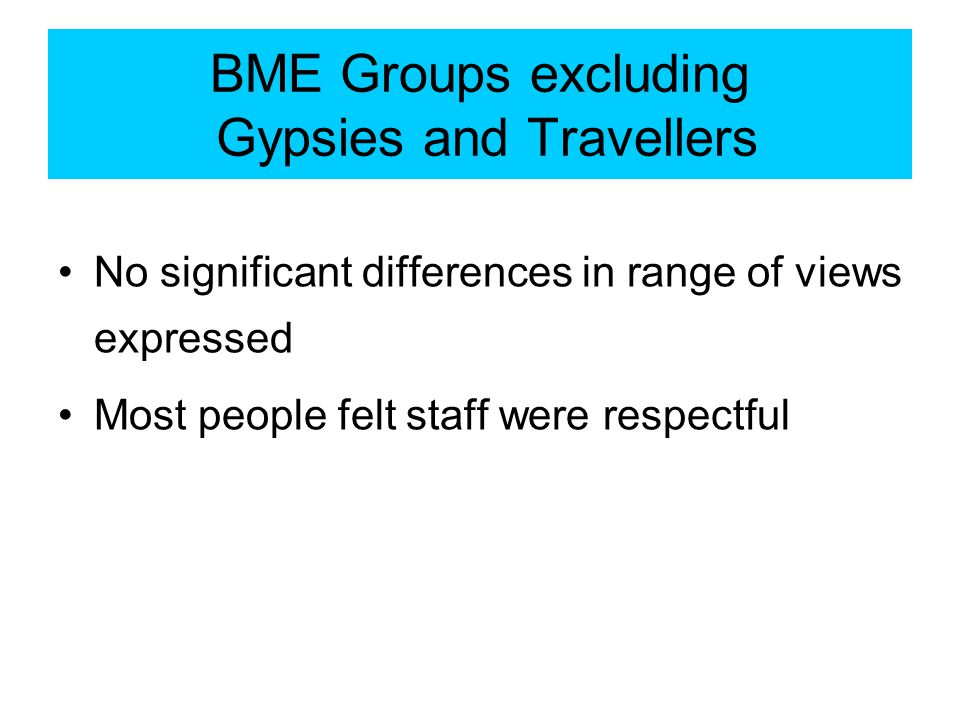 No significant differences in range of views expressed Most people felt staff were respectful BME Groups excluding Gypsies and Travellers