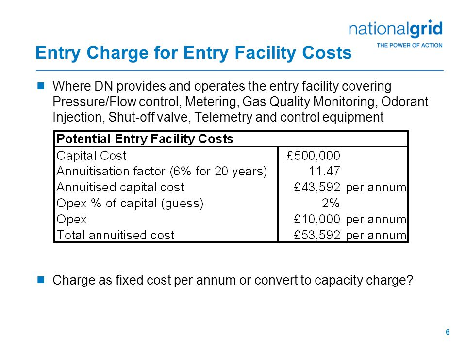 6 Entry Charge for Entry Facility Costs  Where DN provides and operates the entry facility covering Pressure/Flow control, Metering, Gas Quality Monitoring, Odorant Injection, Shut-off valve, Telemetry and control equipment  Charge as fixed cost per annum or convert to capacity charge