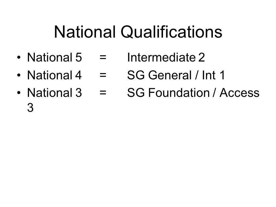 National Qualifications National 5=Intermediate 2 National 4= SG General / Int 1 National 3=SG Foundation / Access 3