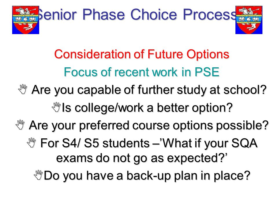 Senior Phase Choice Process Consideration of Future Options Focus of recent work in PSE  Are you capable of further study at school.