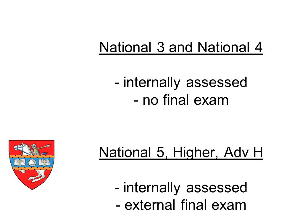 National 3 and National 4 - internally assessed - no final exam National 5, Higher, Adv H - internally assessed - external final exam How are they assessed