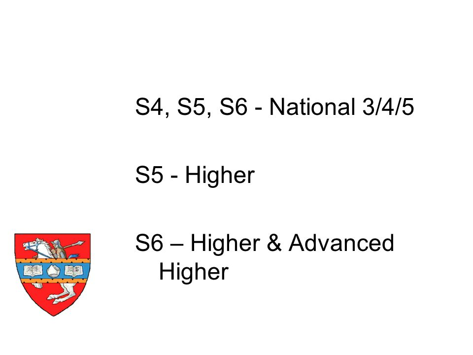 S4, S5, S6 - National 3/4/5 S5 - Higher S6 – Higher & Advanced Higher Timescale
