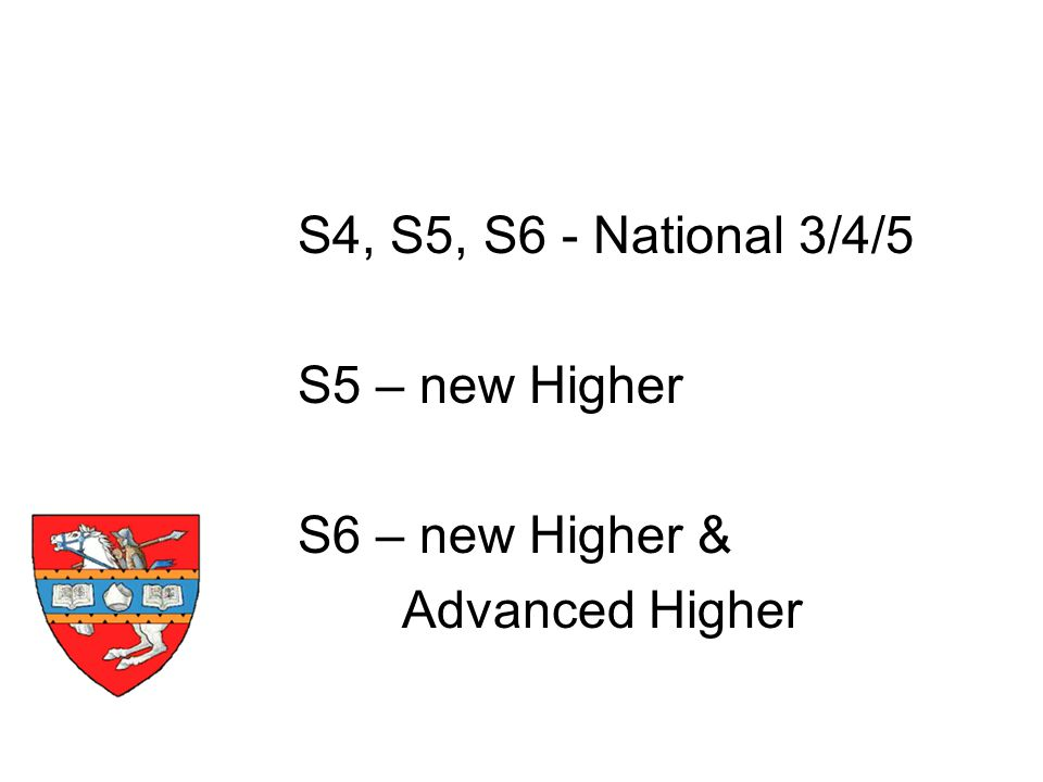 S4, S5, S6 - National 3/4/5 S5 – new Higher S6 – new Higher & Advanced Higher Timescale