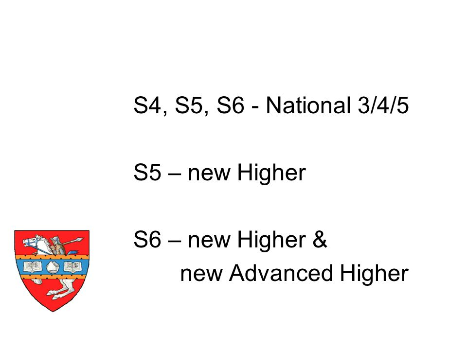 S4, S5, S6 - National 3/4/5 S5 – new Higher S6 – new Higher & new Advanced Higher Timescale
